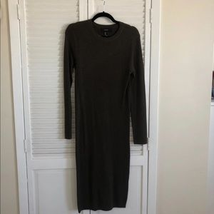 Olive Green Midi Sweater Dress L